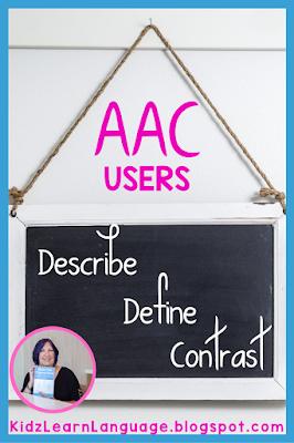 describe, define, compare, contrast in speech therapy