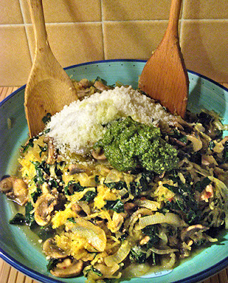 Kale, Mushroom and Spaghetti Squash with Added Pesto and Parmesan