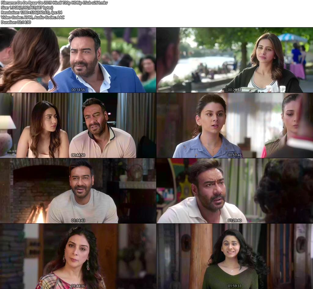 De De Pyaar De 2019 Hindi 720p HDRip ESub x264 | 480p 300MB | 100MB HEVC Screenshot