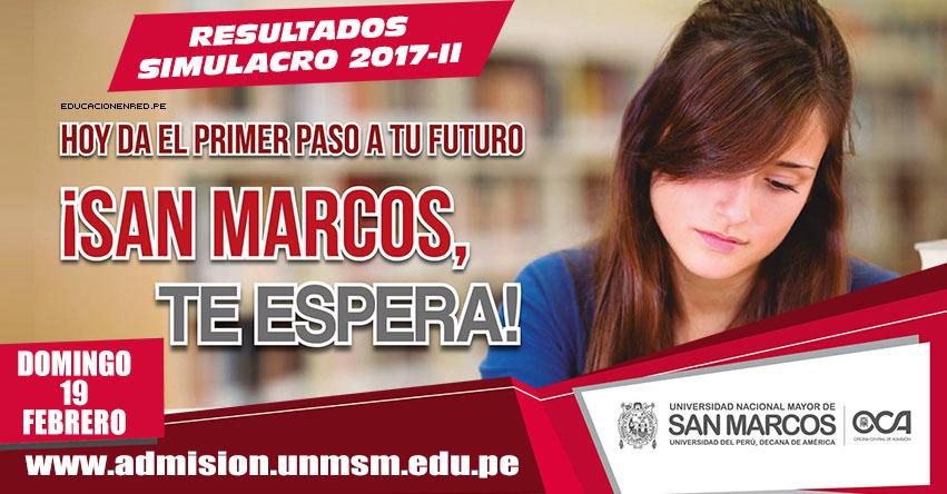 Resultados Simulacro San Marcos 2017-2 UNMSM (19 Febrero) Simulacro Presencial de Examen de Admisión Universidad Nacional Mayor de San Marcos - www.unmsm.edu.pe