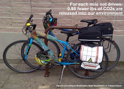 Two bicycles attached to a bike rack. Text in upper-right corner states, 'For each mile not driven: 0.98 fewer lbs of CO2s are released into our environment.' In lower-right corner, text states, 'Figures according to Washington State Department of Transportation'