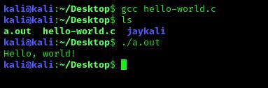 running C program in Kali Linux