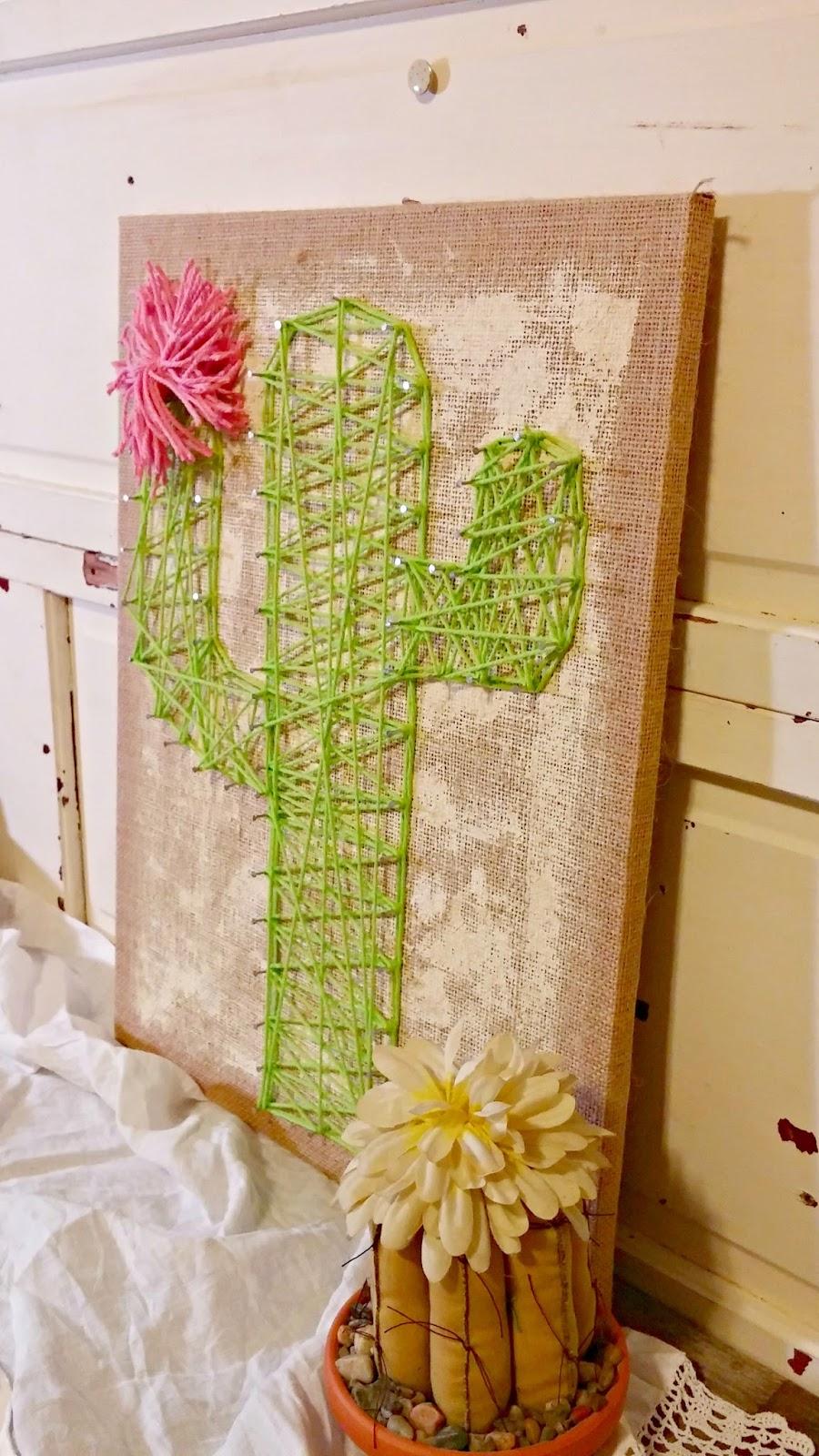 Trash to Treasure - Cactus String Art - Little Vintage Cottage