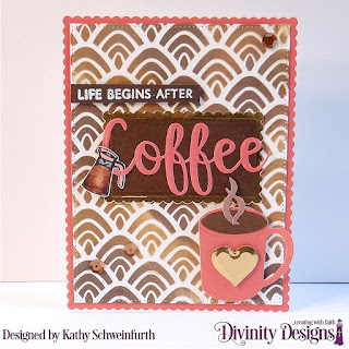 Stamp/Die Duos: Perk Up, Cocoa & Coffee, Custom Dies: Scalloped Rectangle, Rectangles, Mixed Media Stencils: Hills, Paper Collection: Latte Love