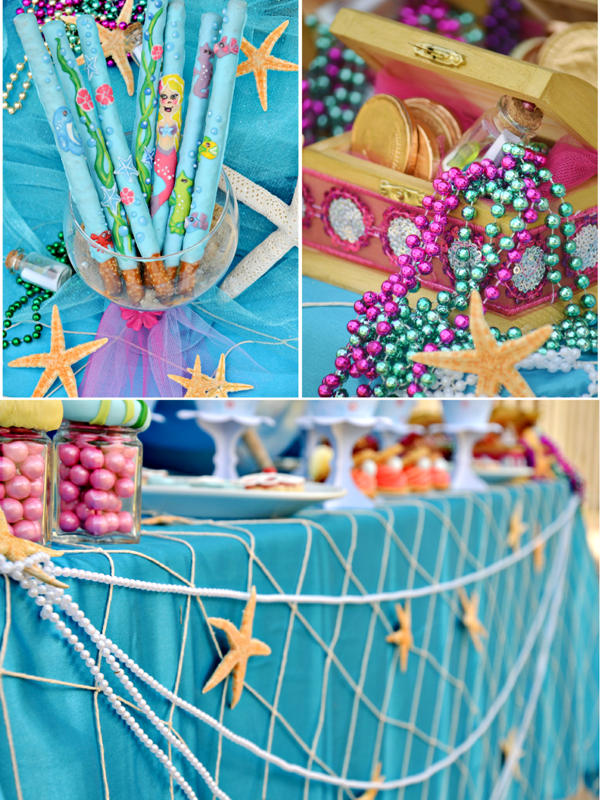 Under The Sea Mermaid, Dolphins Birthday Party Ideas and Printables - via BirdsParty.com
