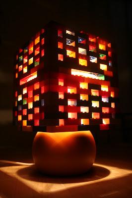 Lego lamp lit