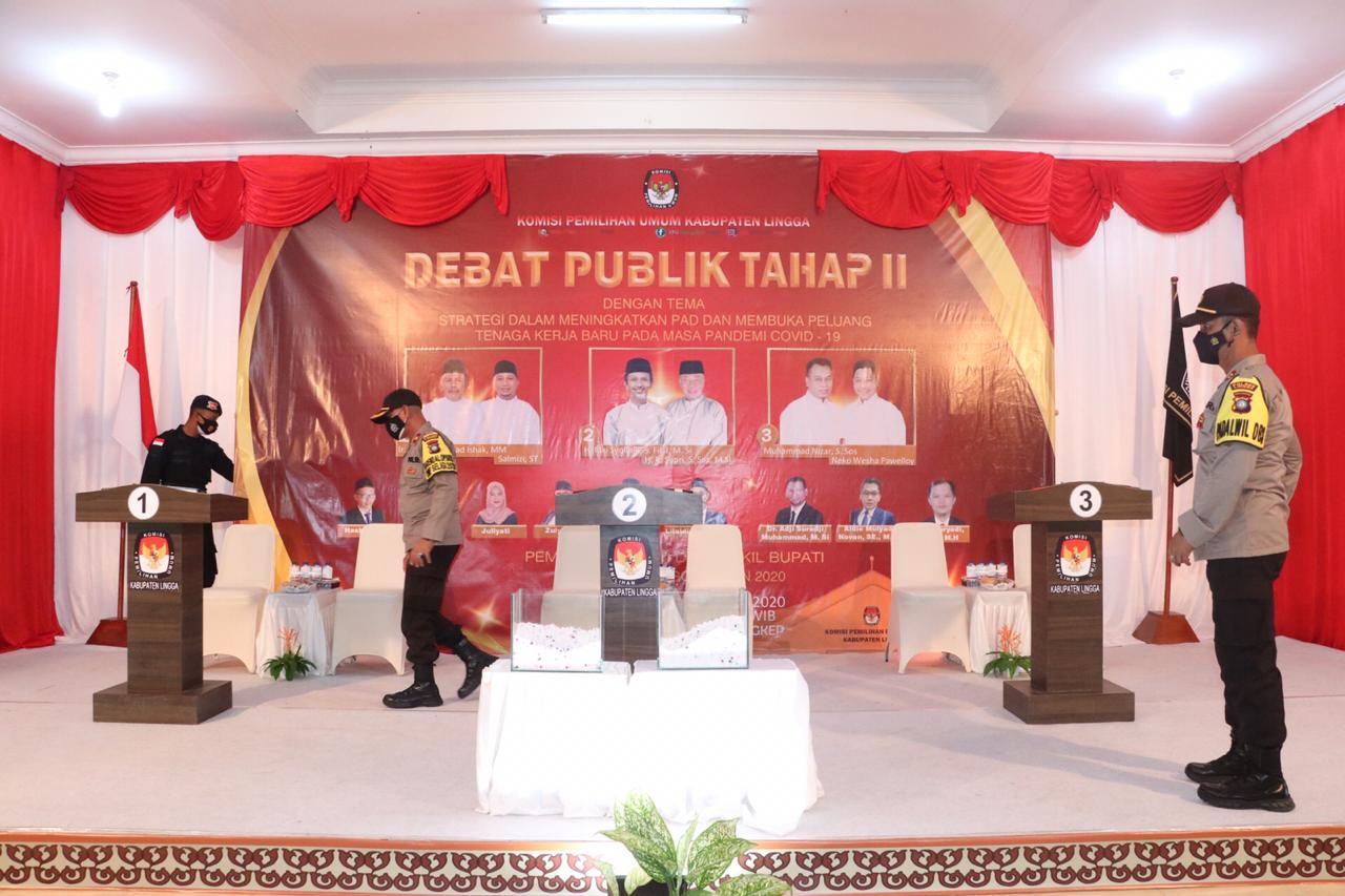 Polres Lingga Kembali Lakukan Pengamanan Debat Pasangan Calon Bupati Lingga dan Wakil Bupati Linggga