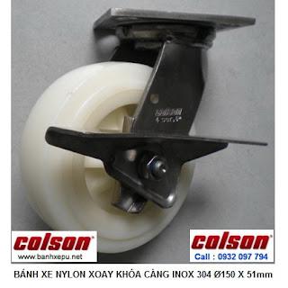 Bánh xe đẩy càng inox 304 Colson chịu lực phi 150 | 4-6409-824-BRK3 www.banhxepu.net