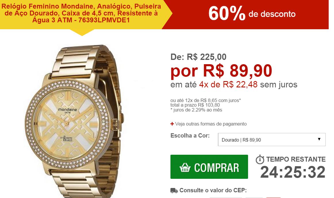 f6892873a Só R$ 89,90 - Relógio Feminino Mondaine, Analógico, Pulseira de Aço Dourado,  Caixa de 4,5 cm, Resistente à Água 3 ATM