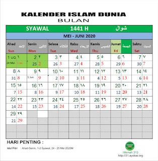 Kalender Islam Bersatu Bulan Syawal 1441 H