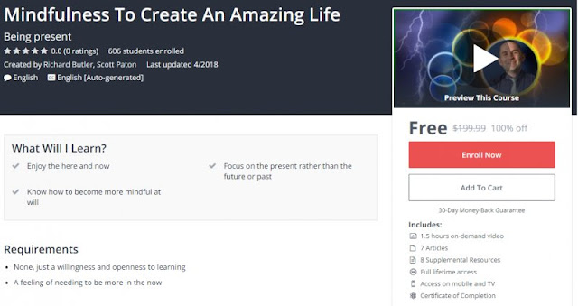 [100% Off] Mindfulness To Create An Amazing Life  Worth 199,99$