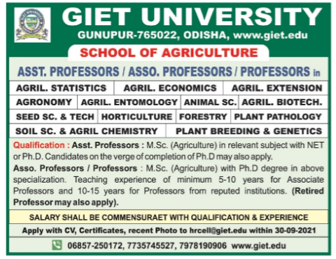 GIET University Agricultural Sciences Faculty Jobs 2021