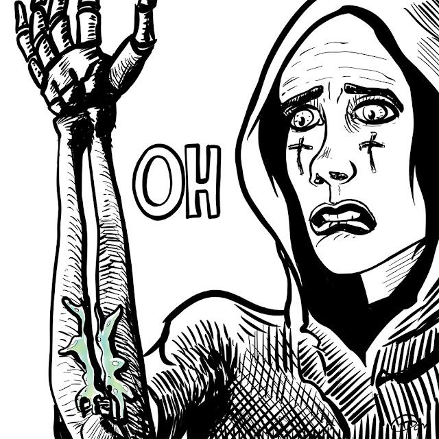 femme avec un bras en os