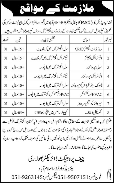 Engineers and Clerical Jobs in Fazaia Medical College Hospital Islamabad