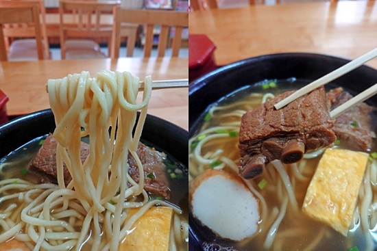 ソーキそば(大)の麺と本ソーキの写真