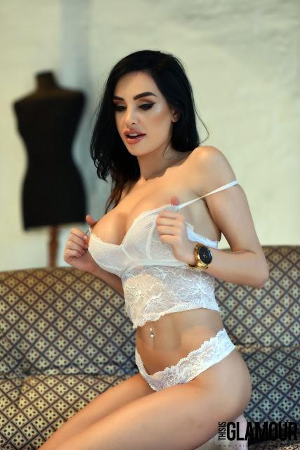 Ann Denise White Lingerie sliding bra off big boobs