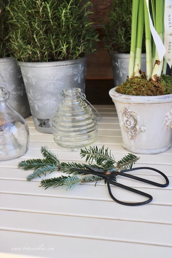 Christmas potting bench is a great place to work on Christmas greenery