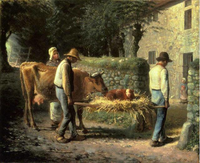 Жан Франсуа Милле - Крестьяне несут домой теленка, рожденного в поле. 1864