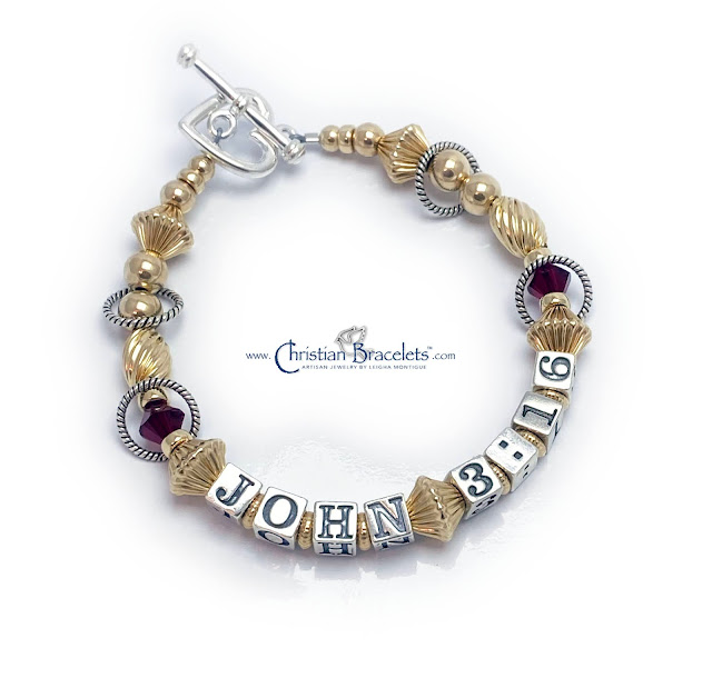 Gold John 3:16 Bracelet with a Heart Toggle Clasp and Red Swarovski Crystals (18 color options)