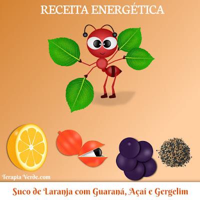 Receita Energética: Suco de Laranja com Guaraná, Açaí e Gergelim
