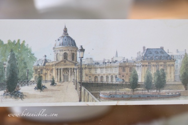 A l'Acadèmie française print with soft colors like a watercolor painting is perfect for framing in a floating glass frame