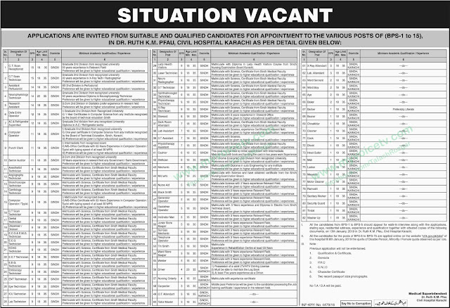 ➠ #Jobs - #Career_opportunities - Jobs in Health in Sindh – BPS 1-15) in Dr. Ruth KM PFAU, Civil Hospital Karachi – as many as more than 80 Jobs – For details please visit this link