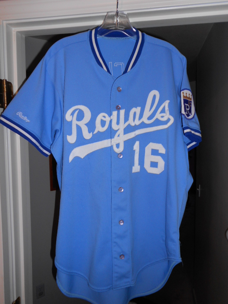 This is Bo s 1987 baby blue road game used rookie jersey. This was the only  year