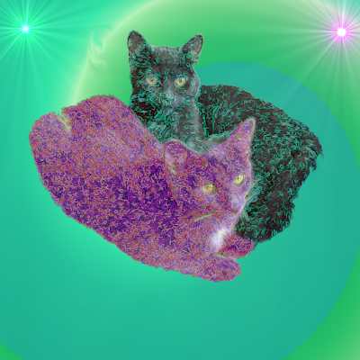 Two kittens, one green, the other purple on a spiral green background with two supernovas