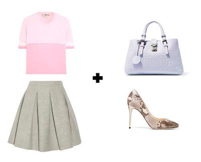 Розовый пастельный топ с серой юбкой в складку, туфлями на высоком каблуке и сиреневой сумкой