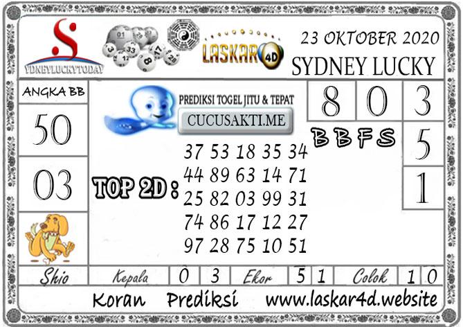 Prediksi Sydney Lucky Today LASKAR4D 23 OKTOBER 2020