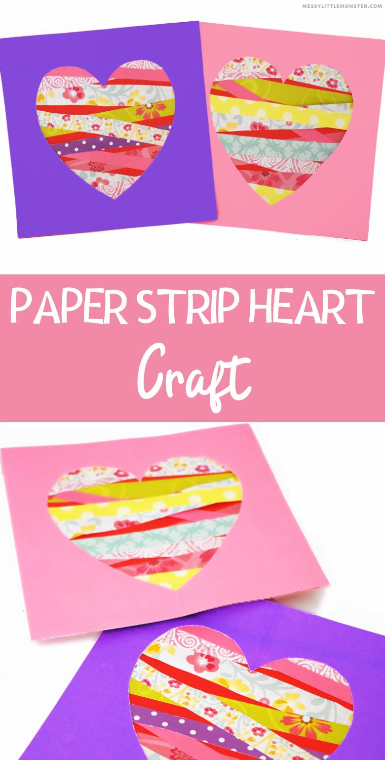 Paper strip heart craft. Easy heart art for kids.