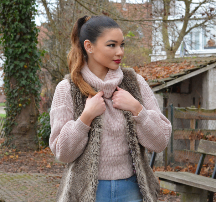 Fashion Nova, Classic High Waist Skinny Jeans, Light Blue, Cozy Pullover Turtle Neck Knit Sweater, Coral, Oasap, Bershka, Fur Vest, Lace Up Wedges