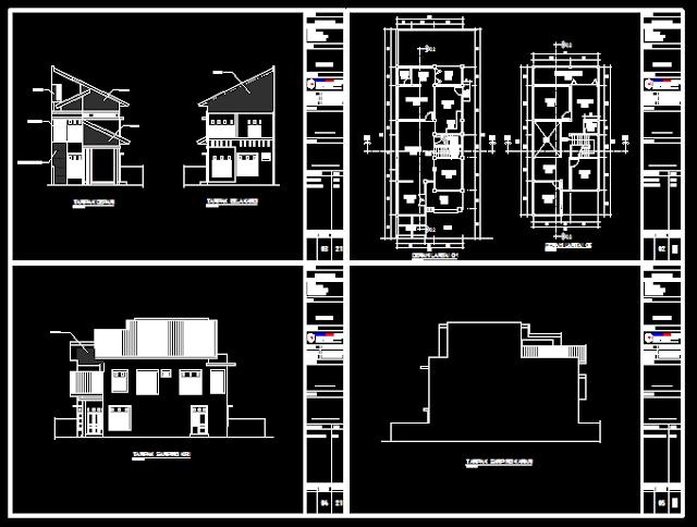 Gambar Kerja Rumah 2 Lantai 4 Kamar + Musholla Dwg Gratis