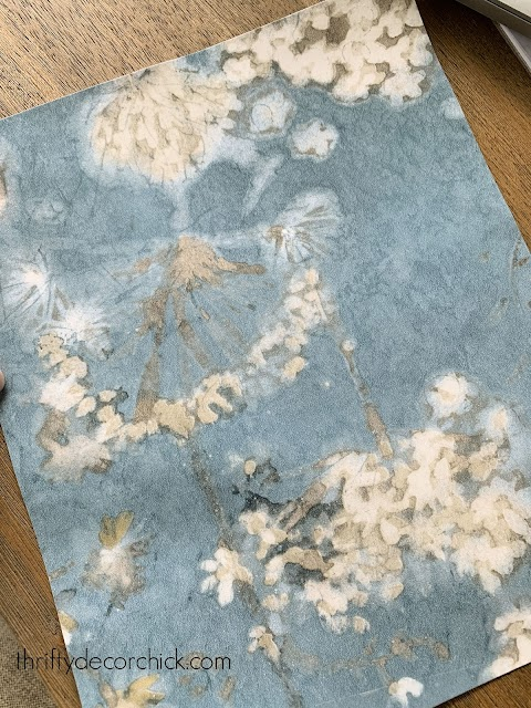 Blue cream white gray floral peel and stick wallpaper