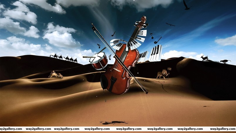 Drum violin piano in desert wallpaper