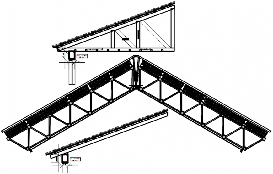 Steel Structure View Of Roof Area In Autocad File