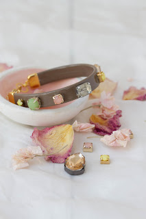 DIY – Recycled leather and gem stone bracelet