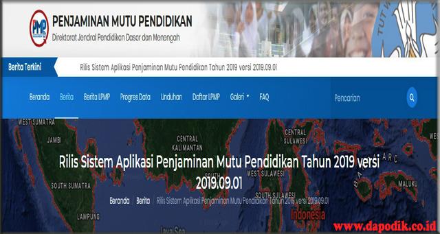 Aplikasi utama pada Sistem Penjaminan Mutu Pendidikan Dikdasmen Tahun 2019 versi 2019.09.01