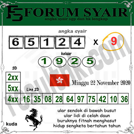 Forum Syair HK Minggu 22 November 2020
