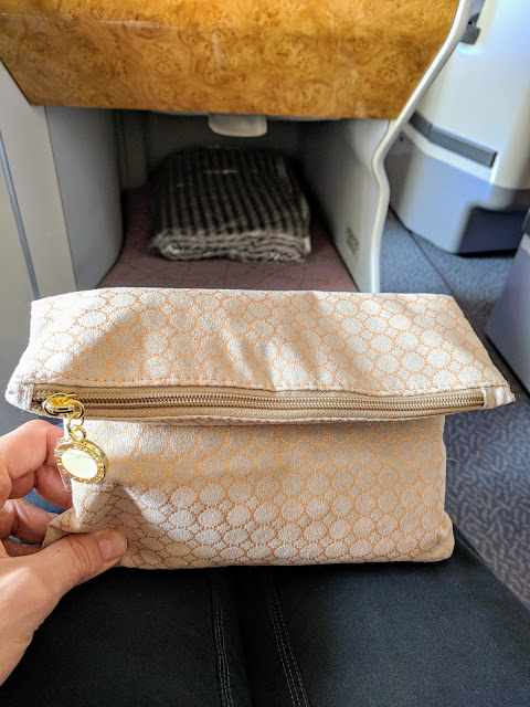 Bulgari amenity kit aboard Emirates Business Class A380 service