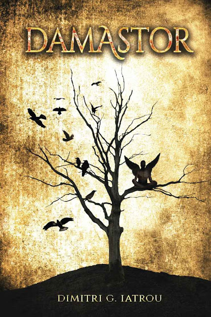 Damastor book cover featuring a tree with a winged humanoid in the branches in silhouette