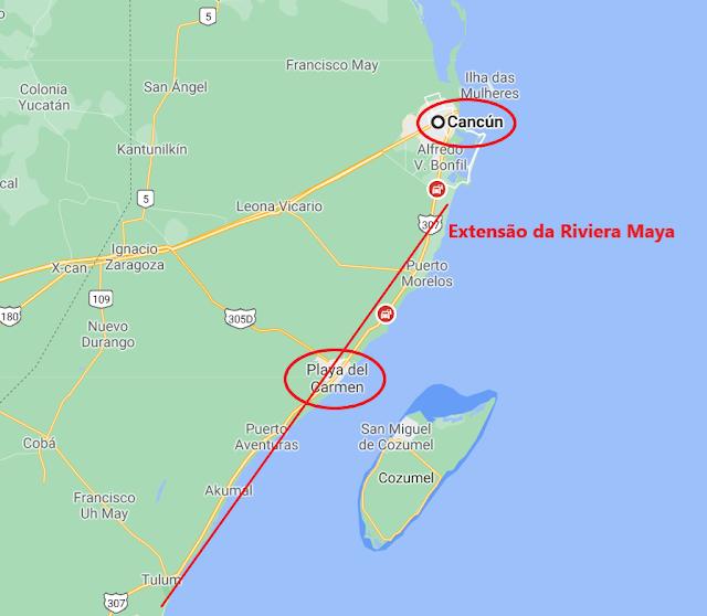 Mapa de Cancun e Riviera Maya