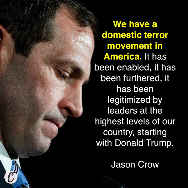 We have a domestic terror movement in America. It has been enabled, it has been furthered, it has been legitimized by leaders at the highest levels of our country, starting with Donald Trump. — Rep. Jason Crow