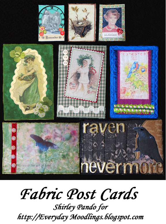 Everyday Moodlings: Mixed Media Monday: Fabric Post Cards