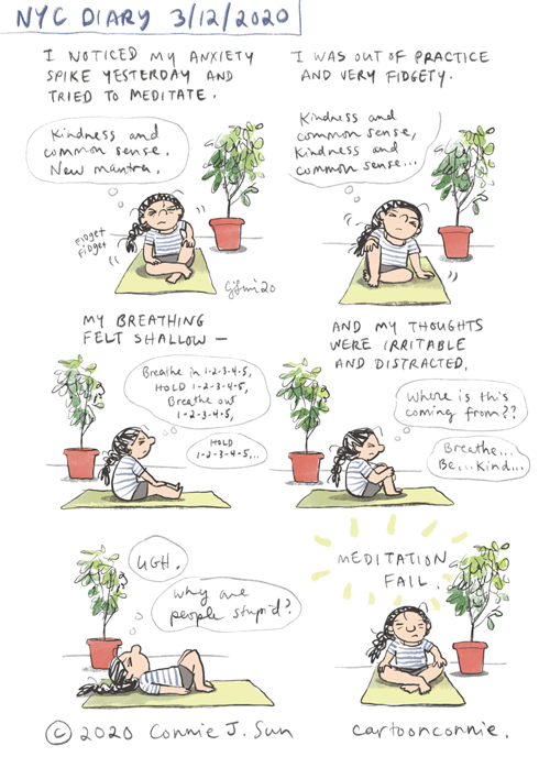 meditation, humor, anxiety relief, mindfulness, comics, illustration, cartoonconnie, connie sun, sketchbook, pandemic