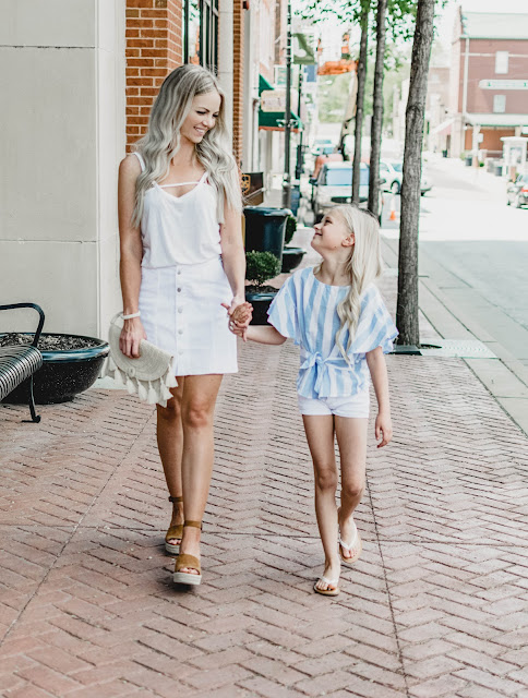 mom and me summer outfit idea little girl womens white on white straw bag kids style fashion lifestyle photography