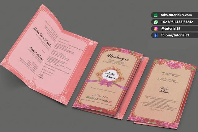Undangan pernikahan 89.S179 - Seimpel Lipat 2 +stiker label undangan