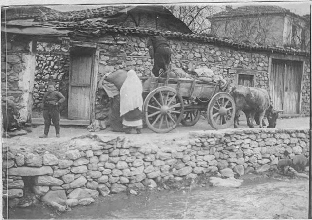 In the streets of Bitola (Monastir) (March 1917). Unloading of cart: Young Turk watching, women carrying sack