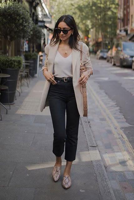 Outfit con blazer beige