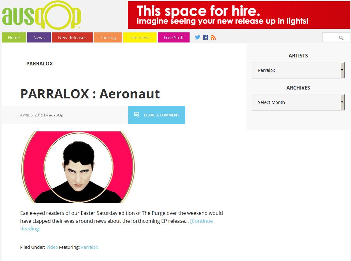 AusPop (Australia) piece on the new Parralox music video for Aeronaut